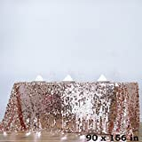 BalsaCircle 90-Inch x 156-Inch Blush Big Payette Sequin Tablecloth Table Linens Wedding Party Events Decorations Kitchen Dining