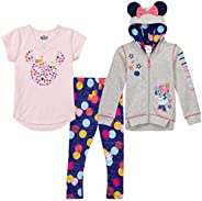 WarnerBros. Minnie Mouse Girls' Hoodie Legging Activewear Pajama Outfit 3PC Set, Sizes