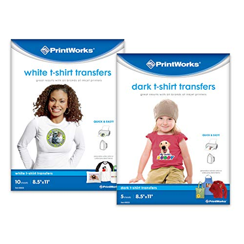 Printworks White & Dark T-Shirt Transfers 15-Count Bundle, Premium Value Pack contains 10 White T-Shirt Transfers & 5 Dark T-Shirt Transfers, Compatible with all Fabric Colors (00542) (T-shirt Peel Transfer)