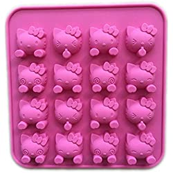 Witkey 16 Cavity Cute Cat Shape Non Stick Silicone Mold Fondant Chocolate Molds Candy Molds Baking Cookie Mould Soap Decorating Molds