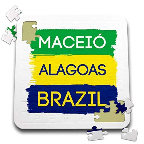 3dRose Alexis Design - Brazilian Cities - Maceio, Alagoas National Colors Patriot Brazil Home Town Design - 10x10 Inch Puzzle (pzl_311939_2)