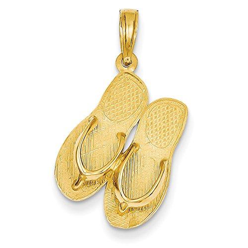 14k Number Flip Flop Pendant (Diamond2Deal 14k Yellow Gold 3-D Maui Aloha Flip-Flops Pendant)