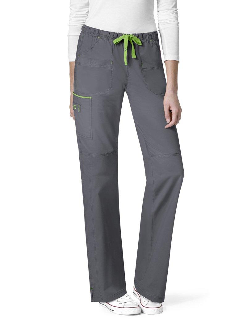 WonderWink Women's Plus Size Wonderflex Joy Denim Style Staight Leg Scrub Pant, Pewter, 2X-Large
