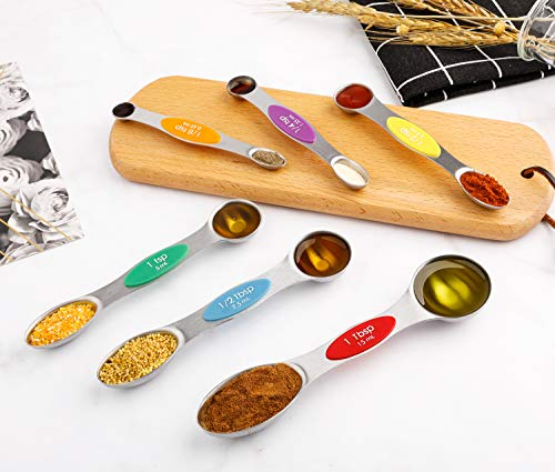 Colourful Dual Sided Teaspoon Magnetic Measuring Spoons Set Stainless Steel
