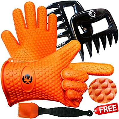 Grace Kitchenwares GK201 3 x No.1 Set: The No.1 Silicone BBQ/Cooking Gloves Plus The No.1 Meat Shredder Plus No.1 Silicone Baster Plus eBooks w/ 344 Recipes. Superior Value Premium Set. 100% $ Back