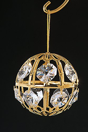 Crystal Ball, 24K Gold Plated With Swarovski Crystal Ornament