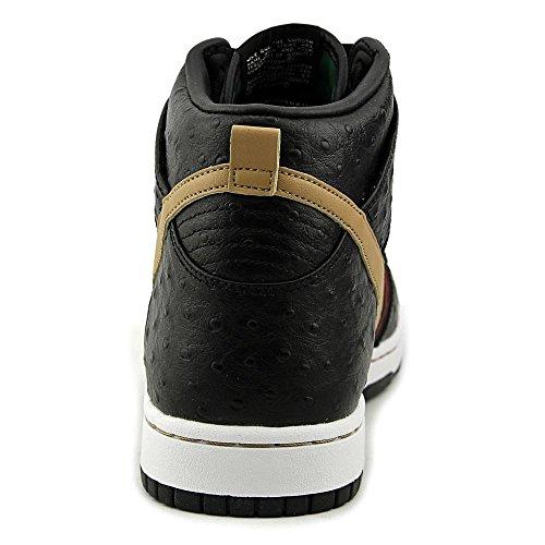 Nike Men's Dunk CMFT Prm Qs Black/Flt Gold Hypr Rd Grg Grn Basketball Shoe 8 Men US by NIKE (Image #2)