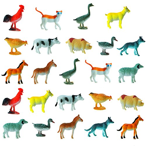 Etmact Small Plastic Farm Animals 24 Piece