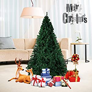 Dporticus 7' Artificial Christmas Pine Tree W/Solid Metal Stand, 1,000 Tips Full Tree Green 6