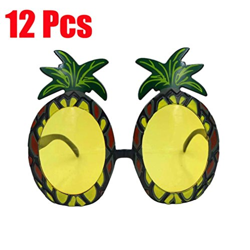 Pineapple Glasses, Hometom 12 x Pineapple Glasses Hawaiian Costume Fancy Dress Accessories Party Sunglasses (Yellow) (Horn Mirror Stag)