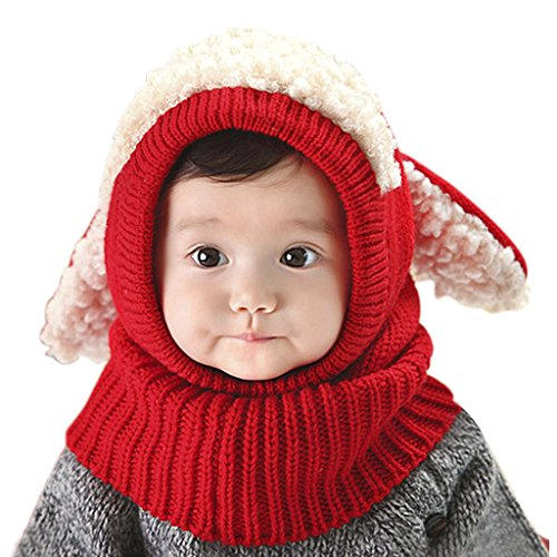 Neck Cowl Acrylic - Baby Kids Warm Winter Hats Cute Thick Earflap Hood Hat Scarves Skull Caps Hooded Cowl Neck Warmer Beanie with Ears (Red)