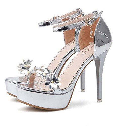SHEO sandalias de tacón alto La Sra. Europa y los Estados Unidos de diamantes de tacón alto multa con lentejuelas la palabra hebilla sandalias dedo del pie B