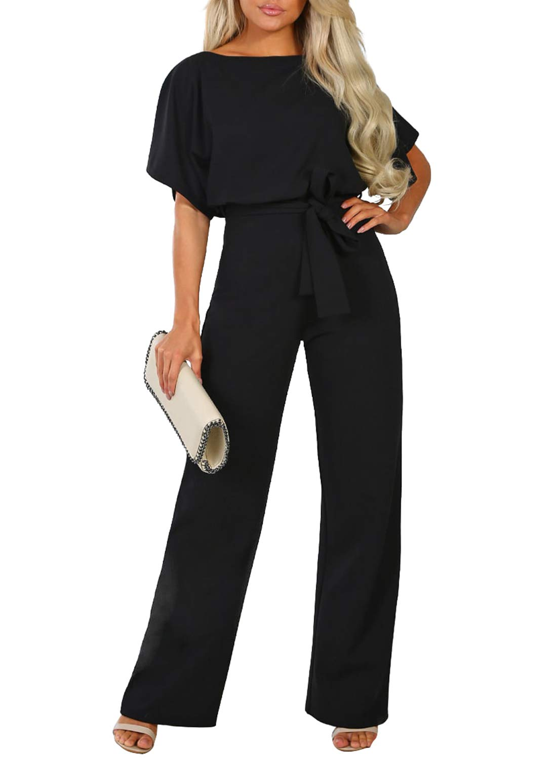 Happy Sailed Women Casual Loose Short Sleeve Belted Wide Leg Pant Romper Jumpsuits X-Large Black by Happy Sailed