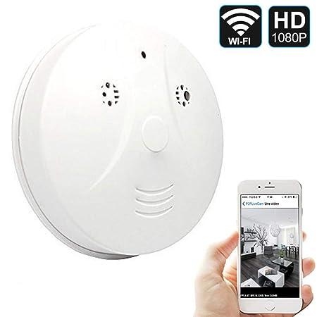 QUANDU Hidden Spy Camera WiFi Smoke Detector Camera DVR Mini Nanny Cam with Motion Detection for Home Security Surveillance Apps for iOS Android PC Mac