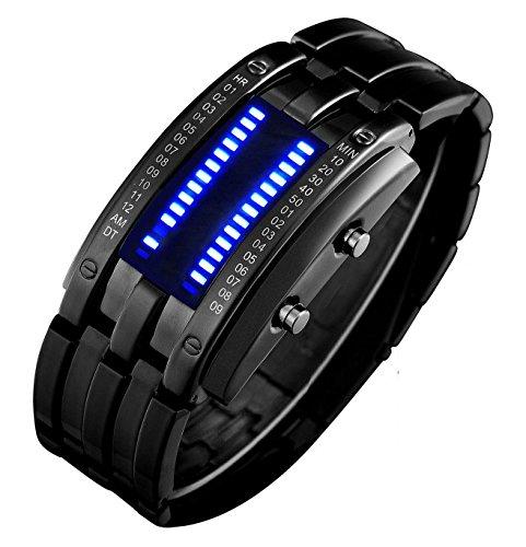 Binary Matrix Blue LED Digital Waterproof Watch Mens Classic Creative Fashion Black Plated Wrist Watches by FANMIS