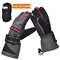 Ski Gloves, Winter Warm 3M Insulation Waterproof Snow Gloves with Free Breathable Face Mask for Skiing, Snowboarding, Motorcycling,Cycling, Outdoor Sports, Gifts for Men