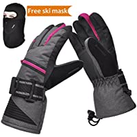 Solaris Winter Warm 3M Insulation Waterproof Snow Ski Gloves, Free Breathable Face Mask Skiing (Color: Pink; Sizes: S / M / XL)