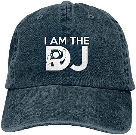 Trust Me I'm The DJ Cotton Adjustable Jeans Cap Baseball Cap ForAdult Net red 4693