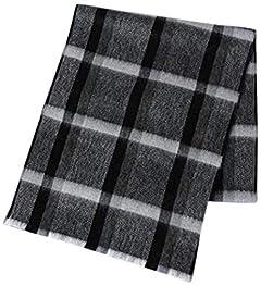 United Arrows Herringbone Plaid Lambswool Angora Scarf 1336-499-3746: Black