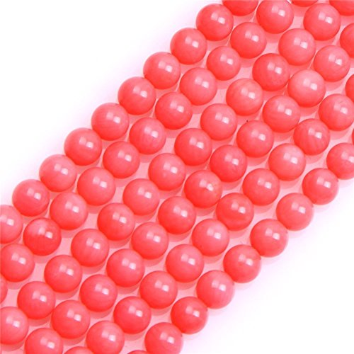 4mm Pink Coral Beads Round Loose Gemstone Beads for Jewelry Making Strand 15 Inch (95-100pcs)