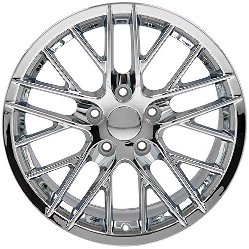 Partsynergy Replacement For Chrome Wheel Rim 17 Inch Fits 1997-2004 Chevrolet Corvette (Front) 5-120.65mm 10 Double Spokes Chrome 17x9.5