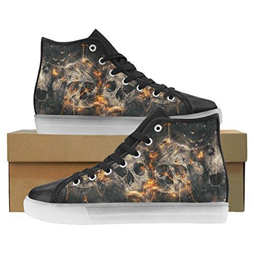 InterestPrint Skulls Bones Light up Women's Shoes Flashing Sneakers