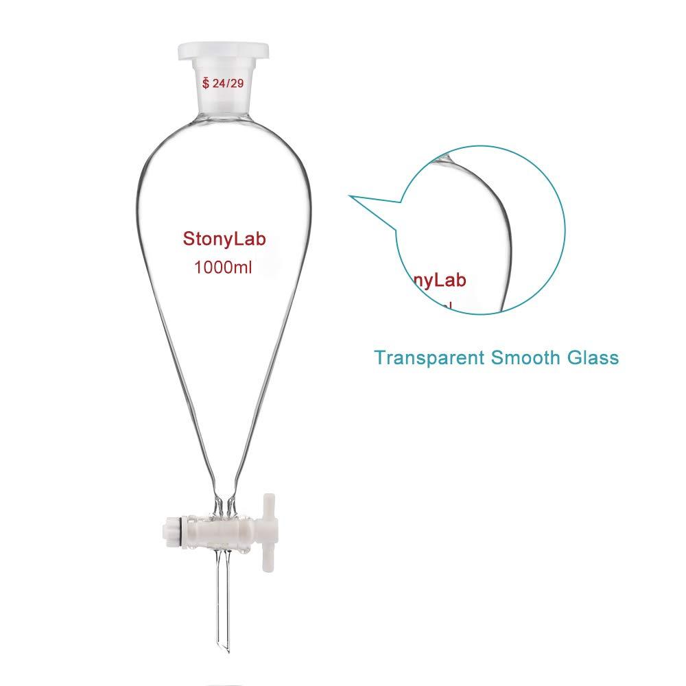 24//29/conjunta 125/ml pyriform separatory Embudo embudo de separaci/ón con llave de paso de PTFE