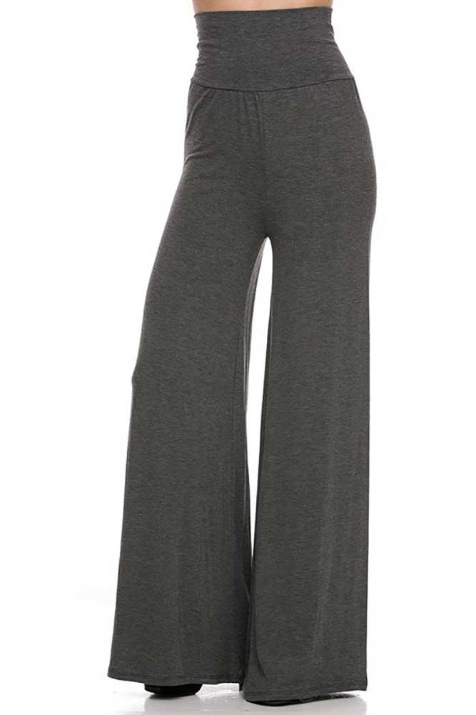 Superline Solid Palazzo Pants Large Charcoal