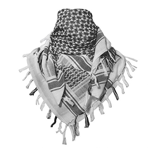 Wrap Military (ChinFun 100% Cotton Keffiyeh Tactical Desert Scarf Military Arab Scarf Wrap Shemagh,Grey)