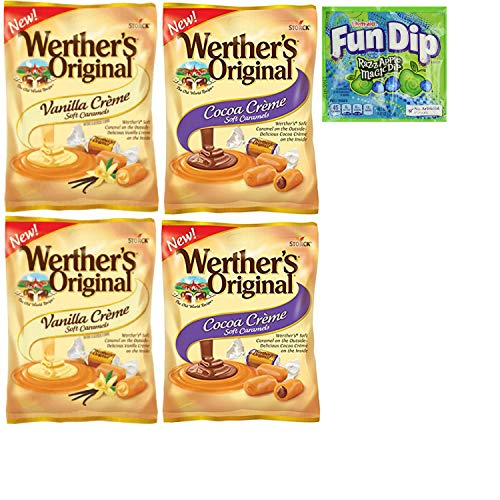 Werthers Filled Caramel Candy Large Bag Combo. (4.5oz). Cocoa Creme and Vanilla Crème Soft Caramels. Easy Shopping For 2 Popular Candy Choices. Vegetarian Friendly. Includes Fun Dip Sample.