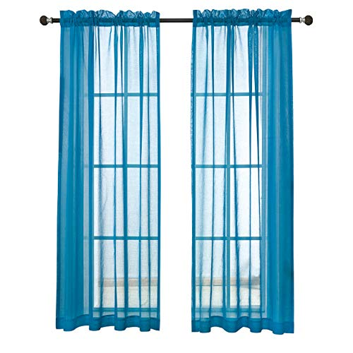 MYSKY HOME Rod Pocket Window Voile Sheer Curtain Drapes for Kids Room, Blue, 52 x 95 Inch, Set of 2 Panels