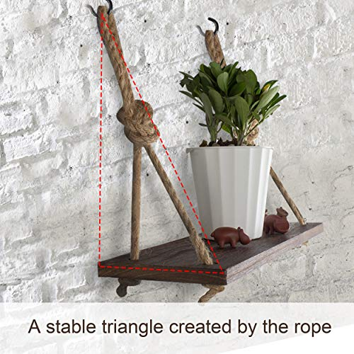 Yankario Rope Hanging Floating Shelves, Rustic Wood Wall Decor Swing Shelf with 4 Hooks, Pack of 2 - http://coolthings.us