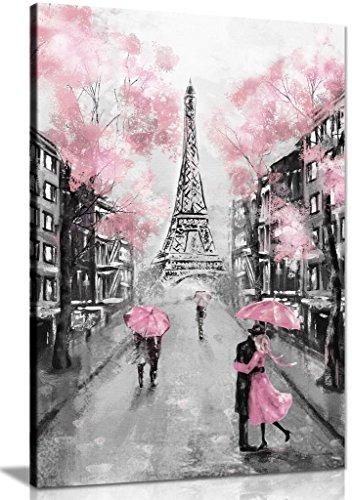 Pink Black & White Paris Painting Canvas Wall Art Picture Print (36x24)