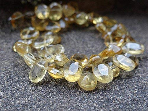 Natural Citrine Beads Faceted Heart Gemstone Briolettes Flat Teardrops 8mm to 9mm, Citrine Tear Drops, Orange (6 gems Beads) by LadoNarayani - Faceted Flat Briolette Beads