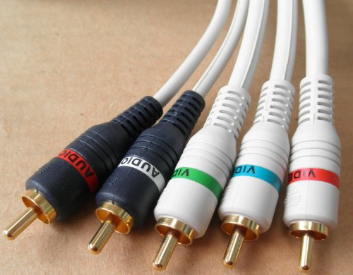 (6 foot 5-RCA Stern Python Digital Audio Video Link HDTV High Resolution Ultra Shielded Component Cable - 884645724848 - Heavy Duty - White - 3 video components and 2 audio components - Plug in for Samsung Toshiba LG Sharp Sony Sceptre RCA Panasonic Philips Mitsubishi Magnavox TV LCD Plasma DLP - 254-606IV - ETMB)