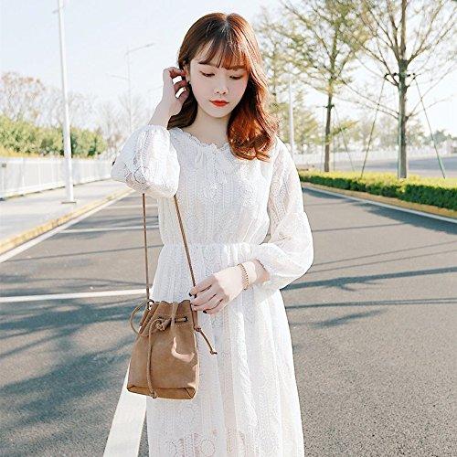Dentelle Fe Robe Blanche 2018 la de Snow Version l'apprt Robes Robe M Jupe Manches Jupe Taille V Dentelle en Courtes MiGMV White jusqu' azd0x