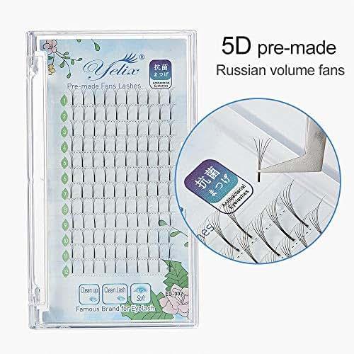 5D Russian Volume Lash Premade Fan Eyelash Long Stem Clustered Eyelash Extensions D Curl 0.07mm Thickness 10mm Length