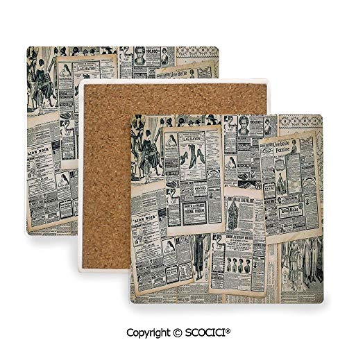 (Ceramic Coasters with Cork Base, Prevent Furniture from Dirty and Scratched, Suitable for Kinds of Mugs and Cups,Antique,Vintage Style Layered Sepia Toned Newspaper Print,3.9