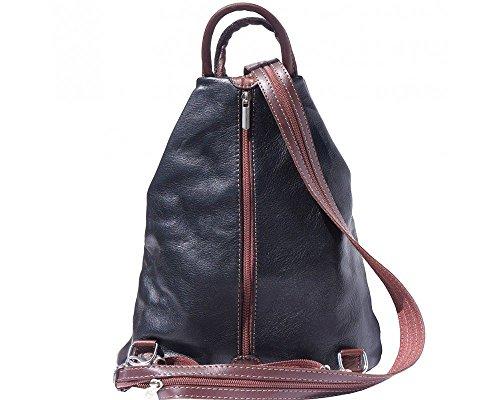 Leather amp; Bolso Mujer Mochila multicolor Florence Marrón Para Tan 207 Y Negro Negro Bordeaux Rq8d6