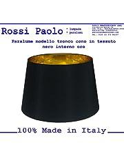 Paralume coprilampada tronco cono d25 in tessuto nero interno oro - produzione propria - made in Italy