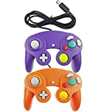 Bowink 2 Packs Classic NGC Wired Controllers for Wii Gamecube (Orange and Purple)