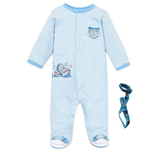 Little Me Baby Sleep N Play Sports Footie Johnny Sneakers and Tether Blue 6 Mths