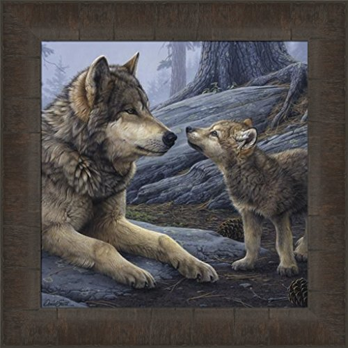 - Home Cabin Décor Brother Wolf by Daniel Smith 15x15 Timberwolf Timber Wolves Framed Wildlife Art Print Wall Décor Picture