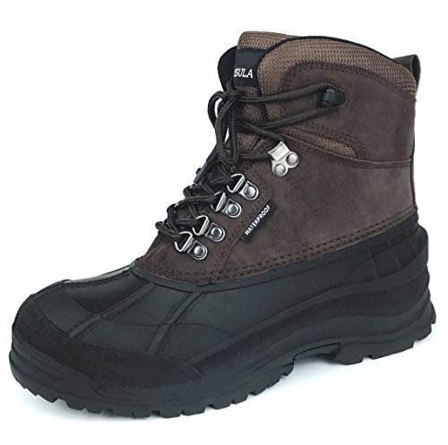 Meada WinBota Winter Duck Snow Bota Impermeable Con Aislamiento De Cordones Up Cold Weather Bota Brown103