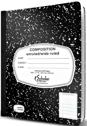 iScholar Composition Book, Journal, Unruled Top, Wide Ruled
