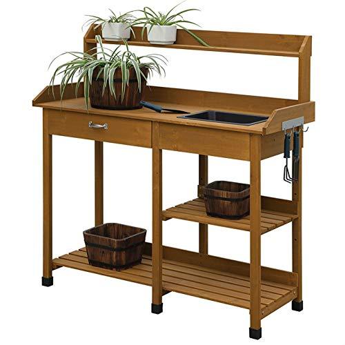 (StarSun Depot Wooden Potting Bench Work Table-Sink Light Oak Finish)