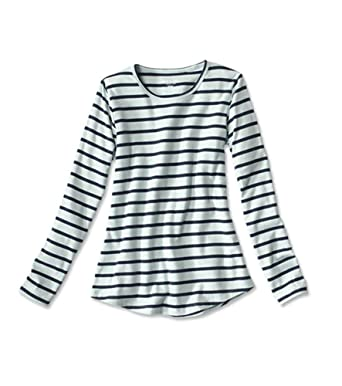 d4d562c2fe6 Orvis Women s Long-Sleeved Striped Relaxed Perfect Tee at Amazon ...