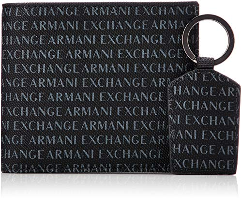 Armani Exchange Men's Wallet + Keychain Accessory Set, Nero, UNI
