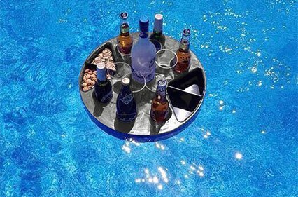 Bar Pool Floating (T-Bar Portable Bar Set – Floating Bar Perfect for Beach, BBQ, and Pool Party – Folding Serving Tray with Legs and Carrying Case)