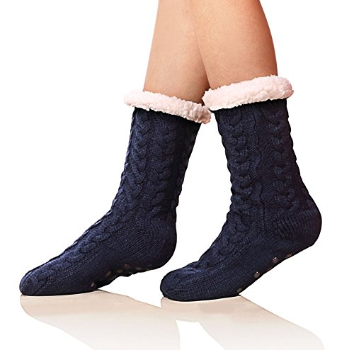 SDBING Women's Winter Super Soft Warm Cozy Fuzzy Fleece-lined Christmas Gift With Grippers Slipper Socks (Dark Blue) ()